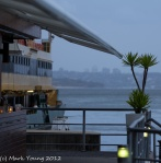 The Many Ferry arriving in the rain