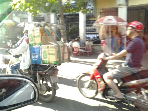 Moped carrying load