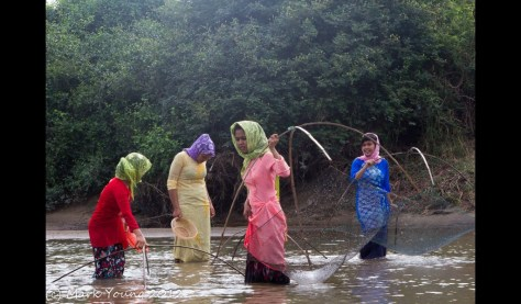 Local Village girls using traditional fishing nets